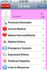 ICE4me was created by the maker of smartICE 4 Family and smart-ICE. The only real difference between ICE4me and the original EMS Alert app, which turned into smart-ICE, is the pink color. This is an app that stores all of your key personal information, medical information, emergency contacts, etc. Everything that you'd want someone to know in case of an emergency.