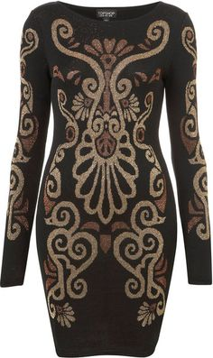 TOPSHOP  Brown Knitted Baroque Bodycon Dress - Lyst