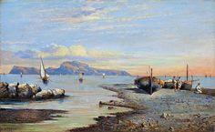 Consalvo Carelli (1818 Arenella/Neapel - 1900 Neapel) - FISCHERBOOTE AUF CAPRI.