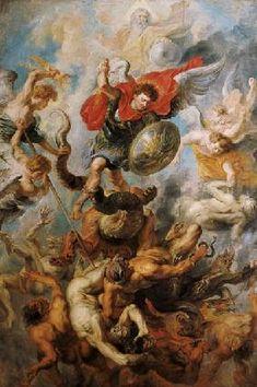 Peter Paul Rubens - The Engelsturz. Archangel Michael in the fight aga