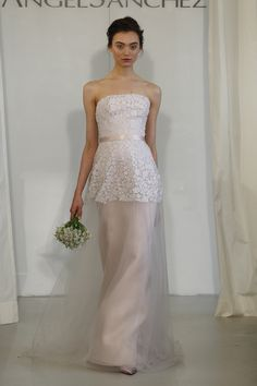 Strapless gown w/ hand cut floral embroidery