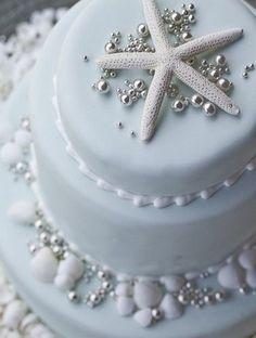 A cake fit for a Caribbean Destination Wedding at Villa Aquamare, Virgin Gorda, BVI Pretty Cakes, Beautiful Cakes, Amazing Cakes, Starfish Cake, Nautical Wedding, Bling Wedding, Seashell Wedding, Wedding 2017, Cupcake Cakes