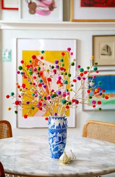 Pom Pom Branches, branches (plain or painted), pom poms, glue gun.  Self explanatory.