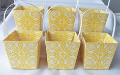 6 Yellow flower party favour boxes  by SparkleandComfort on Etsy, $6.75