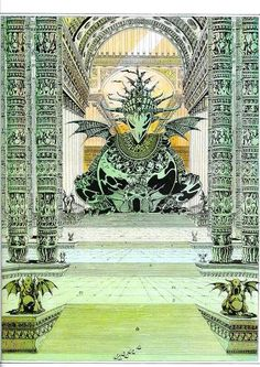 Illustration by Philippe Druillet. Perfect scenery for a cult of some god of Lovecraft's Mythology. Arte Sci Fi, Sci Fi Art, Dark Fantasy, Fantasy Art, Fantasy Places, Illustrations, Illustration Art, Dcc Rpg, Art Science Fiction