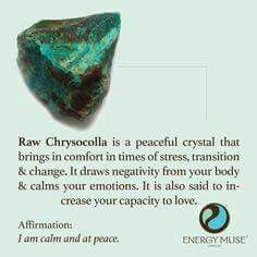 Chrysocolla Stone, You will love Chrysocolla stones from Energy Muse. The Chrysocolla meaning & properties will bring calming and soothing energies to relieve stress. Crystals Minerals, Gems And Minerals, Crystals And Gemstones, Stones And Crystals, Gem Stones, Reiki, Les Chakras, Healing Stones, Healing Crystals