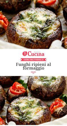 Funghi ripieni al formaggio Truffle Mushroom, Antipasto, I Love Food, Salmon Burgers, Finger Foods, Vegan Vegetarian, Cooker, Stuffed Mushrooms, Food And Drink