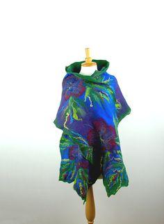 Felted scarf nuno felt scarf merino wool shawl felt flower green cobalt blue royal blue cornflower purple felted art