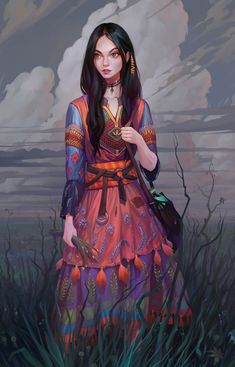 f Druid Robes Necklace Bag female farmland lake river hills by Igor Artyomenko lg Fantasy Character Design, Character Design Inspiration, Character Concept, Character Art, Concept Art, Dnd Characters, Fantasy Characters, Female Characters, High Fantasy