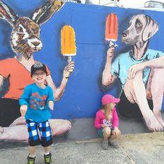 Exploring somewhere we hadn't been before. #bondi #bonditobronte #longweekend #sydney #colour #dontforgettoplay #bright #bunny #outsideplay #streetart #art #jump #diagonal #play #playmatters #active #fitkids #childhoodunplugged by little__ladybird http://ift.tt/1KBxVYg
