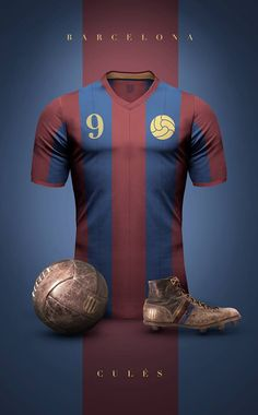 """Concept design of some football clubs in vintage style by Argentinian/Italian graphic designer Emilio Sansolini. """"Experiment to see football jerseys a. Club Football, Retro Football, Football Kits, Football Jerseys, Football Dress, Fc Barcelona, Barcelona Futbol Club, Camisa Retro, Vintage Jerseys"""