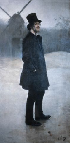 'El Bohemio, Poet of Montmartre' by Ramon Casas i Carbó oil on canvas, x cm. El Bohemio, Poet of Montmartre, is a portrait of composer Erik Satie near the Moulin de la Galette in Montmartre. Spanish Painters, Spanish Artists, Ramones, Erik Satie, Music Composers, Classical Music, Oeuvre D'art, Painting & Drawing, Poetry Painting