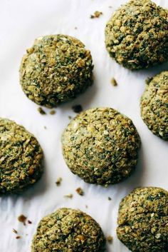 Easy falafel at home in 30 minutes WITHOUT deep frying! Healthy recipe made with lentils, cilantro, parsley, jalapeños, olive oil, and lemon juice. Vegetarian / Vegan / Gluten Free. 70 calories per falafel. | pinchofyum.com