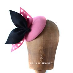 Pink and Black Wool Cocktail Pillbox Mini Hat