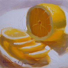 """Sliced Lemon"" - Original Fine Art for Sale - © Elena Katsyura - love the glow"