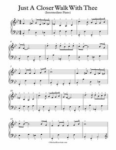 Free Piano Arrangement Sheet Music – Just A Closer Walk With Thee Amazing Grace Sheet Music, Easy Piano Sheet Music, Free Sheet Music, Piano Music, Church Songs, Church Music, Piano Lessons, Music Lessons, Soul Music