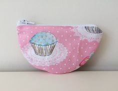 Zipper Coin Pouch - Cupcakes - Small Pouch, Semi Circle - Pink, Blue - Girl Sparkly Pouch - Vintage Look Fabric - Lined - Change Purse by BlackcatmeowDesigns on Etsy