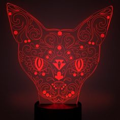 CAT HEAD 3D OPTICAL ILLUSIONS LED LAMPS Great Valntines Day Gift