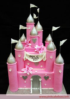 Pink Princess Castle Cake by Pink Cake Box in Denville, NJ.  More photos and videos at http://blog.pinkcakebox.com/pink-princess-castle-cake-2009-03-08.htm