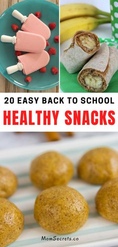 Here you can find 20 healthy, easy to make, and delicious recipes ideas for back-to-school snacks. Kids and moms will love them!! #backtoschool #snacksforkids #healthysnacks Healthy Breakfast Snacks, Healthy Snacks For Kids, Yummy Snacks, Easy Healthy Recipes, Healthy Meals, Delicious Recipes, Yummy Food, School Snacks For Kids, Snacks Kids