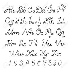 Illustration of Set alphabet calligraphic - vector vector art, clipart and stock vectors. Hand Lettering Alphabet, Doodle Lettering, Lettering Styles, Doodle Fonts, Graffiti Alphabet, Bullet Journal Font, Journal Fonts, Journaling, Calligraphy Handwriting