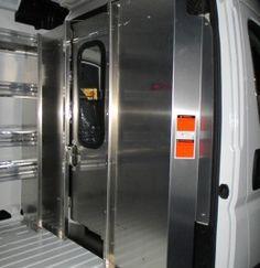 ProMaster Aluminum Sliding Door Partition with window, Ranger Design, Van Storage, Locker Storage, Van Shelving, Aluminium Sliding Doors, Commercial Van, Custom Vans, Exterior Lighting, French Door Refrigerator, Van Life