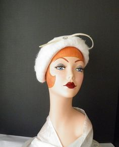 1950s cocktail hat, vintage white faux fur with feather.