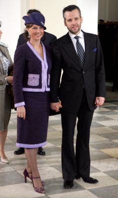 Princess Märtha-Louise of Norway and Ari Behn arrive at Christiansborg Chapel; christening of Prince Christian of Denmark, January 21st 2006