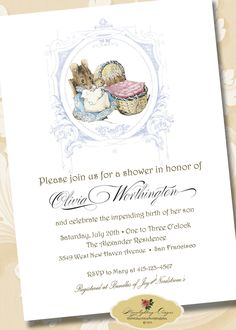 BEATRIX POTTER BaBY SHOWER InVITaTIoN Peter Rabbit Hunca Munca Printable Digital File. $20.00, via Etsy.