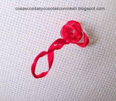 Paso a paso     Rosas bordadas en cinta,hay muchas formas fáciles de bordar una bonita rosa y creo que está es una de las más fáciles y r...