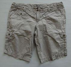 "American Eagle Shorts 14 Cargo Bermuda light Gray Cotton Twill distressed 12"" #AmericanEagleOutfitters #Cargo"