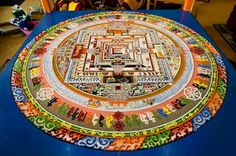 A view of the complete Kalachakra Sand Mandala constructed for the Kalachakra Empowerment in Leh, Ladakh, JK, India on July The work is destroyed shortly after completion to signify that everything in life is temporary fleeting. (Photo by Manuel Bauer) Mandalas Painting, Mandalas Drawing, Urban Threads, Mandala Design, Mandala Art, Yin Yang, Art Chakra, 14th Dalai Lama, Buddhist Teachings