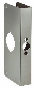 First Watch Security 2001-SSS Reinforcer Strike Plate by First Watch Security. Save 17 Off!. $24.89. Size:9' x 4', Door Thickness:1 3/8', Backset:2 3/8', Finish:Stainless Steel   Repairs damaged doors  Assists in preventing forced entry  Made from Solid Brass except for the Stainless Steel finish which is made from Stainless Steel
