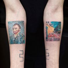Tattooist Inks Fine Art Tattoo Designs of Famous Paintings in Art History Georges Seurat, Wassily Kandinsky, Rene Magritte, Classic Paintings, Great Paintings, Hieronymus Bosch, Gustav Klimt, Vincent Van Gogh, Van Gogh Famous Paintings