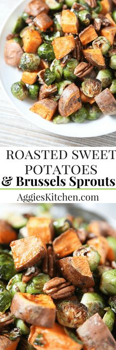 The flavors of fall on a plate - you'll love serving these Roasted Sweet Potatoes and Brussels Sprouts with Pecans to your family or guests this holiday season. via @aggieskitchen