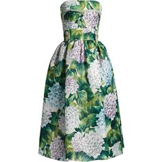 Hortensia-print strapless organza dress Dolce Gabbana... (¥566,080) ❤ liked on Polyvore featuring dresses, green color dress, strapless dresses, pattern dress, green print dress and green dress