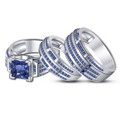 White Gold On 925 Sterling Silver Blue Sapphire Wedding His & Her Trio Ring Set #eightyjewels
