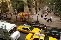 new+york+hot+dog+carts | View From MOMA of hot dog cart, MOMA, New York City uploaded on 16 ...