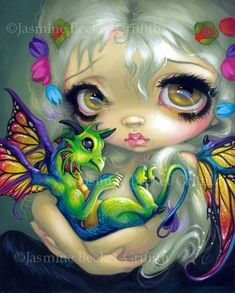 """We're very pleased to present """"Darling Dragonling IV"""" from artist Jasmine Becket-Griffith. About the Artist:Jasmine Becket-Griffith is a world-renowned fantasy artist. Magical Creatures, Fantasy Creatures, Beautiful Creatures, Art Beat, Dragons, Desenho Tattoo, Wow Art, Dragon Art, Gothic Art"""