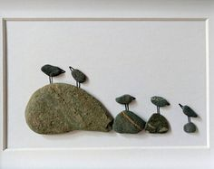 Unframed 5 by 7, bird pebble art, anniversary gift, birthday present, housewarming gift, baby shower, cottage decor, by Jenny Love