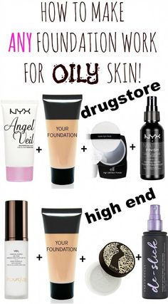 How to make any foundation work for oily skin with only 3 products! Today I show you, how to make ANY foundation work for oily skin! I can sing a song about oily skin, and living in hot humid Florida doesn´t really … Skin Tips, Skin Care Tips, Organic Skin Care, Natural Skin Care, Organic Makeup, Natural Face, Natural Oils, Make Up Braut, Oily Skin Care