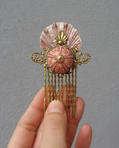Mermaid Hair Comb - Sea urchin, Shell and vintage filigree 67$