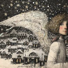 """""""Illustration by Alena Nalivkina"""" Angel Images, Angel Pictures, Winter Illustration, Children's Book Illustration, Illustrations, Seasonal Image, Snow Pictures, Angelic Pretty, Angel Art"""