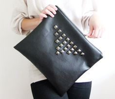 Large leather-like carryall pouch envelope bag large by MirkaDesign