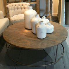 Table basse ronde bois et métal, esprit industriel
