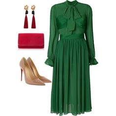 #popofgreen by jenmartin1987 on Polyvore featuring Christian Louboutin and MANGO