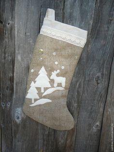 Большие новогодние носки в экостиле - бежевый,экостиль,новогодний интерьер