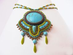 Bead Embroidery Necklace spring turquoise howlit green bronze and turquoise spring trends seed beaded necklace unique embroidered pendant