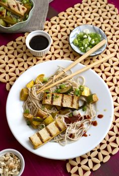 Grilled Tofu with Summer Squash and soba noodles recipe    beautiful plate!!!