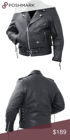 Genuine Cowhide Leather Classic Motorcycle Jacket Rocky Mountain Hides™ Solid Genuine Cowhide Leather Classic Motorcycle Jacket  Features belted waist; snap down collar and lapel; snap epaulets; side laces; zip-out liner; and silver-tone hardware. Rocky Mountain Hides Jackets & Coats Bomber & Varsity